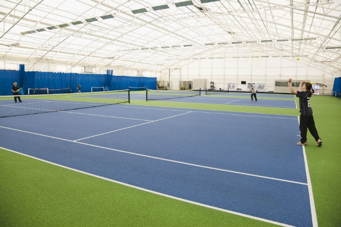 Naturally lit tennis hall